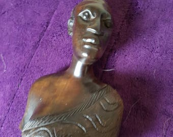 African man Bust in Two Tone Brown. beautifully carved in solid wood. Vintage. 19cm
