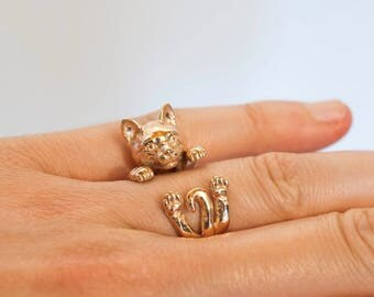 cat ring-sculptured-cat lover-lover of dogs cats-enamels-My pet cat dog hug: Silver ring