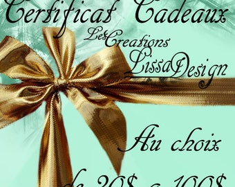 Gift certificate - Gift card - Gift certificate - in CAD - valid on all gift shop