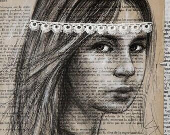 """Portrait girl """"Mine 30"""" 20 x 20 cm book pages"""
