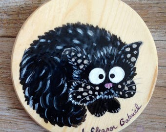 Handpainted glass coasters with cat Grifouille