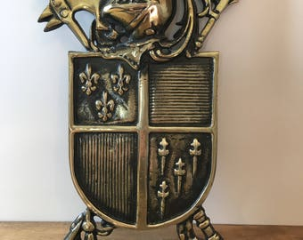 Vintage Coat Of Arms Wall Decor / Shield Of Arms / Medieval Shield / Wall Hanging Shield of Arms / Coat Of Arms Wall Decor