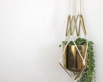 Brass Macrame plant hanger/ Macrame plant hanger/ Modern Plant hanger/ hanging planter/ macrame plant holder/ pot hanger