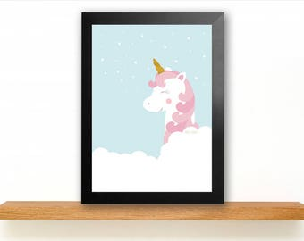 A4 Unicorn Poster Children's Room picture Kids poster