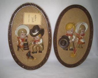 Homco Hubbell Western Cowboy And Prairie Girl Dimensional Plaque