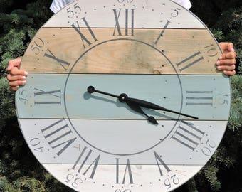 Round Clock, Wood Clock, Reclaimed Wood, Pallet Clock, Handmade Clock, Rustic Decor, Fixer Upper Clock, Wooden Wall Clock, Round Clock,Clock
