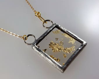 Gold Leaf Wunderkammer Rorschach in Gold Microscope Slide Necklace