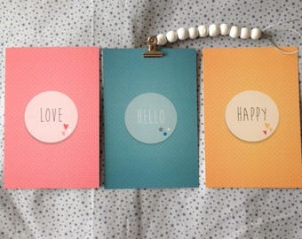 Set of 3 cards with words LOVE - HELLO - HAPPY