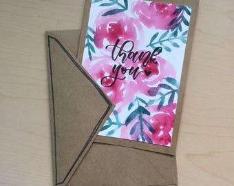 Handmade Cute Rose Floral Thank You Card