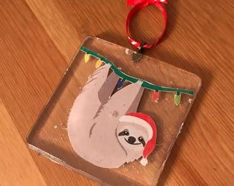 Sloth Christmas Ornament