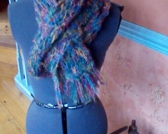 Beautiful hand knitted mohair and wool scarf.