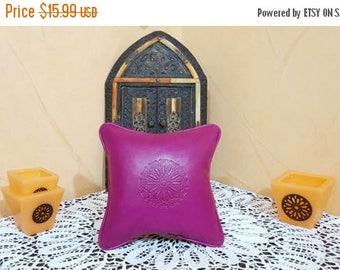 Moroccan leather pillow  handmade leather Pillows pink
