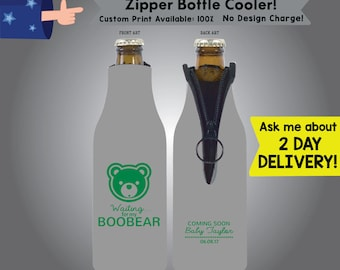 Waiting For My Boobear Coming Soon Baby Name Zipper Neoprene Bottle Cooler  Double Side Print No Minimum Order (ZB-BS1)