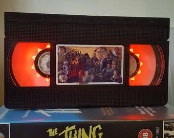 Retro VHS Lamp Evil Dead Living Dead Night Light Table Lamp, Horror Movie . Order any movie! Great gift. Man Cave. Halloween. Christmas!
