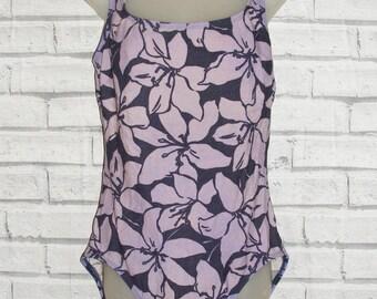 Size 18 vintage 90s Liz Claibourne swimming costume lilac oversize floral (IA23)