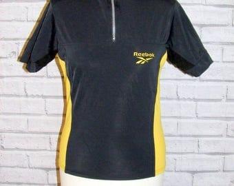 Size 14 vintage 90s Reebok high zip neck cycling top black/yellow sides (HQ80)