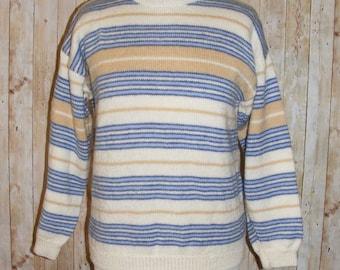 Size 8 vintage 80s hand knit long sleeve jumper white/blue/beige stripe (HI69)