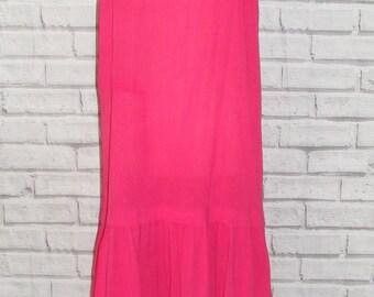 Size 16 vintage 80s strappy drop waist tiered hem dress hot pink/black (IC44)