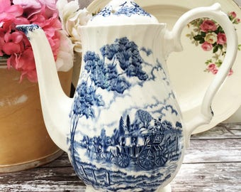 Blue and White Tea/Coffee Pot - Myott 'Royal Mail' - Vintage