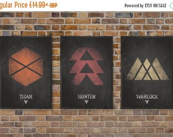 ON SALE Destiny Video Game Posters, Set of Three Class Prints, Titan, Hunter & Warlock Print