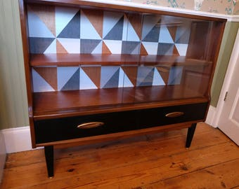 Retro Teak Display Cabinet with sliding doors