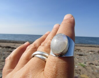 Moon Song ~ Luminous White with Simmering Blue Moonstone Ring 9.5-10