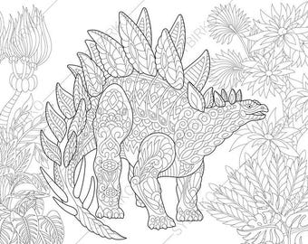 Adult Coloring Pages. Dinosaur Velociraptor. Zentangle Doodle