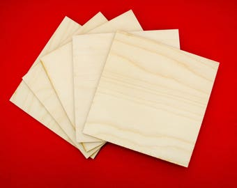 5 inch wood square , wooden square, blank coasters, wood canvas panel, pyrography supply, crafting supply, ornament, sanded