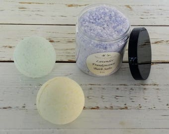 Bath Gift Set-Scrub/Salt and 2 Bath Bombs for 18-8 oz Bath Scrub or Salts and 2 Bath Bombs - Gift Wrapped- All Natural-Great Scents