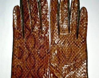 Lavabre Cadet Snakeskin Gloves ~ Size 7 1/2 ~ Millau ~ Silk Lining