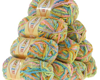 10 x 50 g soft yarn fluffy wool SOFTY by ALIZE No. 51307 stained