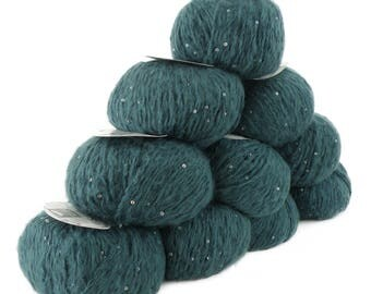 10 x 50 g luxury Knitting yarn Sapphire sequins, color 102 petrol