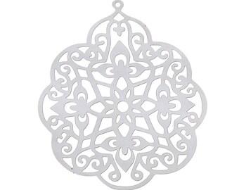"10 Stainless steel Pendant ""Flower"", 41 x 33 mm"