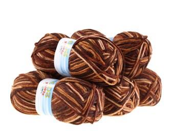 5 x 100 g yarn of 200 by VLNIKA, #23 bright and dark brown tones