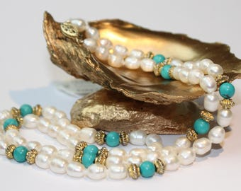 Turquoise Freshwater Pearl Necklace, 14k Yellow Gold Clasp SKU TQ21SOPMGY