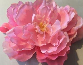 pink peony large silk flower headband flower headband floral headband peony