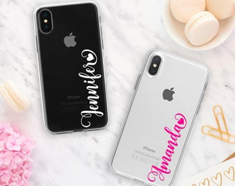 Name Phone Case for iPhone X, 8 Plus, 7, 6s, 6, SE, 5s 5, Samsung Galaxy S9, S8, S7 edge, S6, Clear Rubber Silicon Gel Soft Slim Personalize