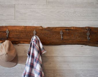 Coat Rack from Reclaimed Wood with Vintage style Hooks - Reclaimed Barnwood - Home Decor - Key Rack