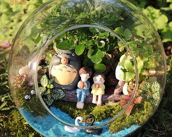 A set 11pcs 3 Totoro 2 Girl Sit on Branch , Fairy Miniature, Ghibli Studio Fairy Garden Supplies Succulent Terraium DIY Accessories
