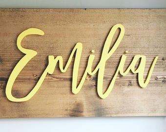 nursery name sign, nursery decor, custom name sign, kids personalized name signs, baby shower gift, baby name sign, kids name sign