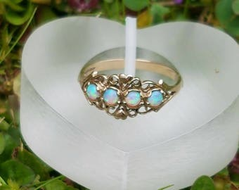 Ornate Opal 9ct Gold Ring