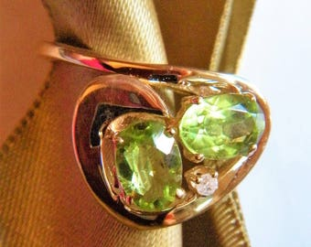 Ladies 14 KT Gold Ring with Two Peridot and One .015 Carat Diamond PLUS Jeweler's Appraisal