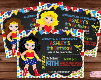 Wonder Woman Invitation - Wonder Woman Party Invitation - Wonder Woman Birthday Invitation - Wonder Woman.