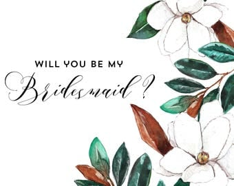 Magnolia Blooms Bridesmaid Card