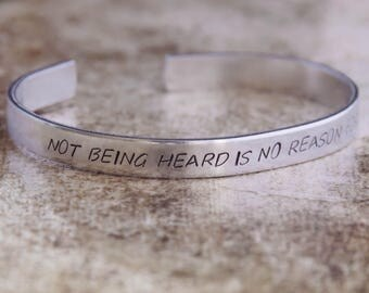 Not Being Heard Is No Reason For Silence / Literary Gift / Inspirational Quote Jewelry / Les Miserables Gift / Literary Jewelry