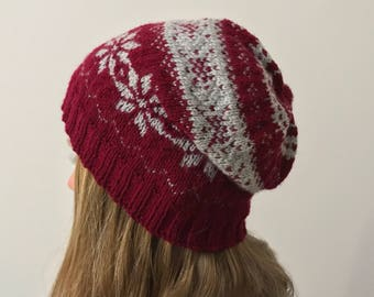 "Fair Isle Knit Cap ""mulled wine stars"" in red/grey acrylic-vegan"