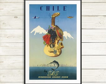 Chile travel poster, vintage travel posters, travel poster set, Chile posters, Chile wall art, Chile art prints, South America travel poster