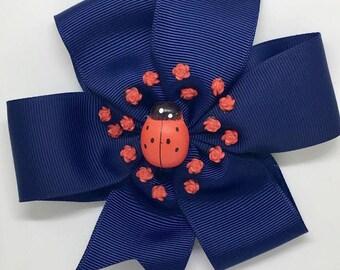 Ladybird - Large: 12.5cm Pinwheel Hair Bow Clip