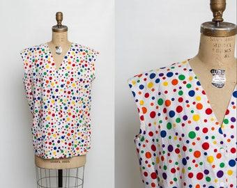vintage 80s maternity smock top | rainbow polka dot print blouse