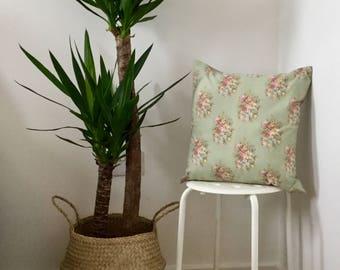 "18"" Vintage Floral Blue & Green Cushion"